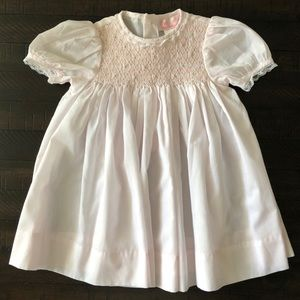 Petit Ami Baby Girls Smocked Day Gown White Pink